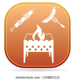 Brazier, kebab and sausage icon. Vector illustration