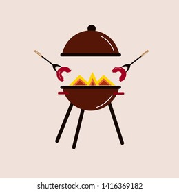 Brazier and sausages drawn in vector.   summer picnic.