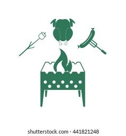 Brazier, zephyr, chicken, and sausage icon. Vector illustration