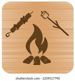 Brazier, zephyr and kebab icon. Vector illustration