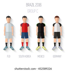 Brazil 2016 football Championship Infographic Qualified Soccer Players GROUP C. Football Game Flat People Icon. Soccer / Football team players. Group C - Fiji, South Korea, Mexico, Germany. Vector.
