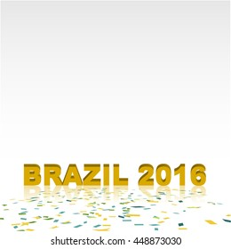 Brazil 2016 wording and confetti on floor with copy space at top area of image, concept for summer sport tournament