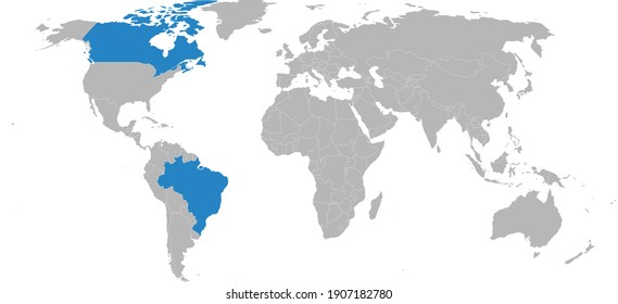 Brazil, Canada countries isolated on world map. Gray background. Geographical maps and Wallpapers.