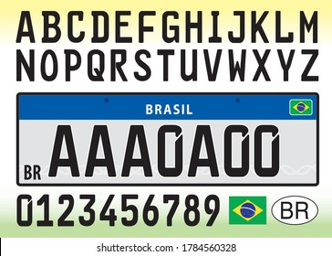 Brazil car license plate template with symbol, letters and numbers, vector illustration