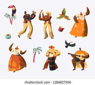 Brazil Carnival Character Set. Woman Dance in Traditional Brazilian Costume at Rio de Janeiro Holiday Celebration. Man Play Drum Music. Exotic People Parade Flat Cartoon Vector Illustration