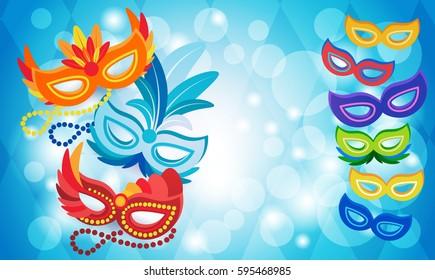 Brazil Carnival Colorful Rio Holiday Party Celebration Flat Vector Illustration