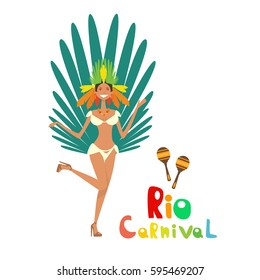 Brazil Carnival Colorful Rio Holiday Party Celebration Flat Vector Illustration