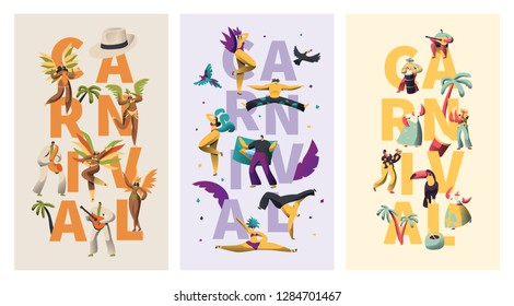 Brazil Carnival Exotic Character Typography Banner Set. Feather Bikini Latino Woman Dance Colorful Parade. Man Play Latin Music for Rio Vivid Festival Vertical Poster Design Flat Vector Illustration