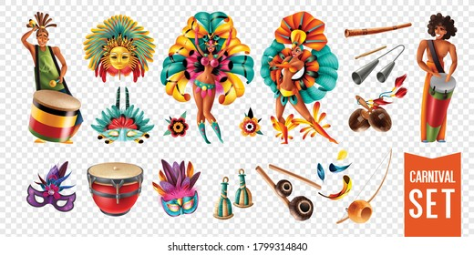 Brazil carnival participants musical instruments masks icons set isolated on transparent background realistic vector illustration