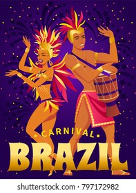 Brazil carnival poster with beautiful brazilian girl in exotic costume dancing samba on purple, ultraviolet  background vector illustration
