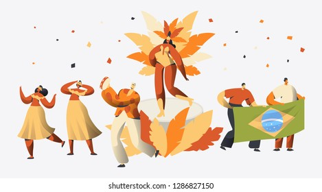 Brazil Carnival Samba Dancer Character Party. Man Woman Dance at Brazilian Latin Holiday Exotic Festival. Vivid Beautiful Multicolor Parade Flat Cartoon Vector Illustration