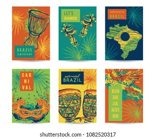 Brazil carnival template design for posters, banners, flyers, placards, brochures. Drums tam tam, maracas, brazil map, parrot, mask and palm leaves. Traditional symbols set. Vector illustration
