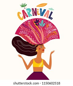 Brazil Carnival. Vector illustration with brazilian dancing girl.