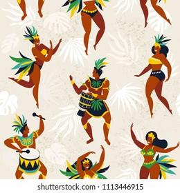 3D Printed T-Shirts Brazil Carnival with Flat Characters Brazilian Samba Dancers