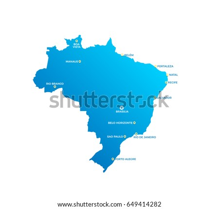 Brazil Cities Map Stock Vector (Royalty Free) 649414282 ...