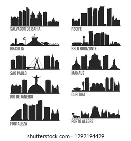 Brazil Cities Most Famous Skyline City Silhouette Design Collection Set Pack