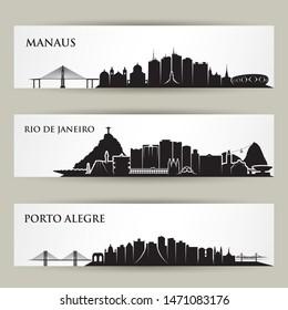 Brazil cities skylines - Manaus, Rio de Janeiro, Porto Alegre - vector illustration