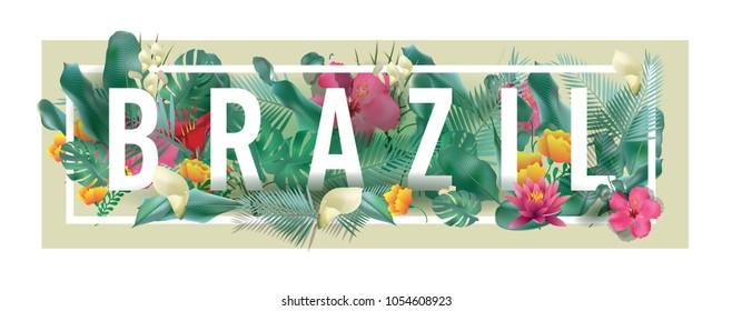 Brazil City Typographic Floral Framed Vector Card Design