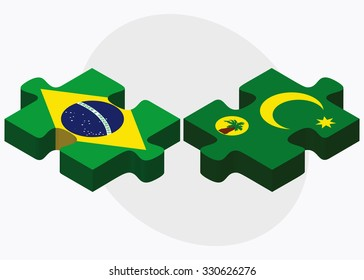 Brazil and Cocos (Keeling) Islands Flags in puzzle isolated on white background