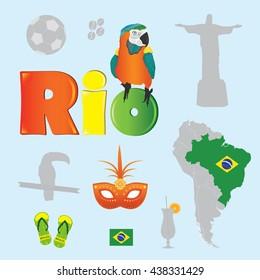 Brazil elements set vector