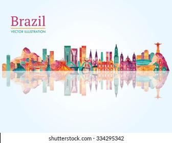 Brazil famous monuments skyline. Vector illustration