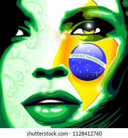 Brazil Flag Beautiful Girl Portrait