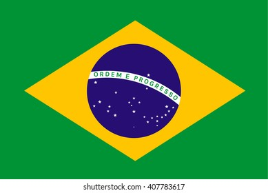 Brazil Flag or Brazilian Flag. Vector illustration flag , Symbolic that represent to Brazil or Brazilian for several concept and occasional ( National Day,Sport,Currency,Travel,Olympic,etc. )