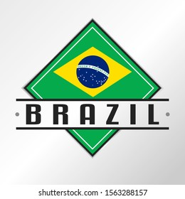 Brazil Flag Emblema. Vector Design National. Illustration Country Symbol.