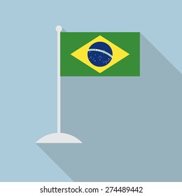 Brazil flag with flagpole flat icon with long shadow. Vector illustration EPS10