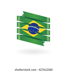 brazil flag icon green ribbon