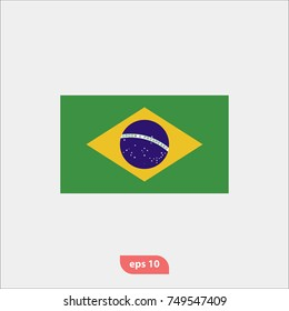 Brazil flag icon, national symbol, flat vector and trendy illustration sign