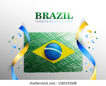 Brazil Flag for Brazil independence day background. Vector illustration eps.10