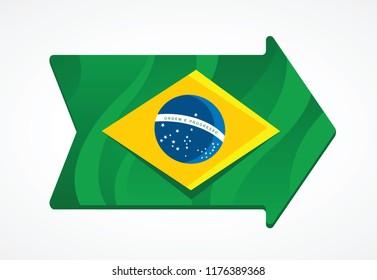 Brazil flag inside a arrow