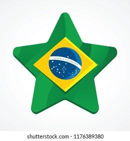 Brazil flag inside a star
