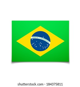 Brazil flag isolated on white, vector background