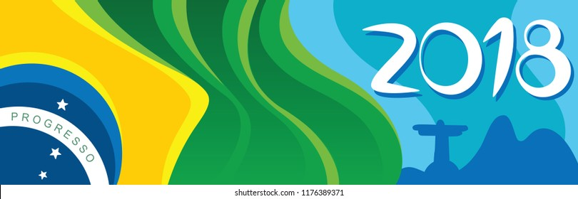 Brazil flag with the lettering 2018 in Rio City