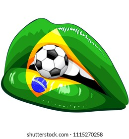 Brazil Flag Lipstick Soccer Supporters on Sensual Woman's Lips