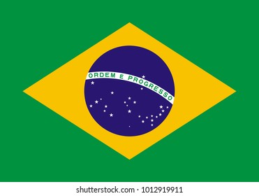 Brazil flag with official colors and the aspect ratio of 7:10. Flat vector illustration.