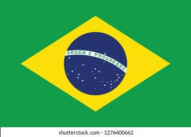 Brazil flag, official colors and proportion correctly. National Brazil flag. Vector illustration. EPS10. Brasil flag vector icon, simple, flat design for web or mobile app.