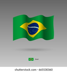Brazil flag. Official colors and proportion correctly. High detailed vector illustration. 3d and isometry. EPS10