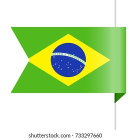 Brazil Flag Vector Bookmark Icon - Illustration