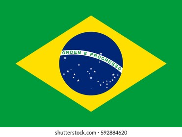 Brazil flag vector icon.