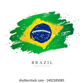 Brazil flag. Vector illustration on white background. Brush strokes drawn by hand. Independence Day.