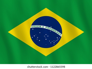 Brazil flag with waving effect, official proportion.