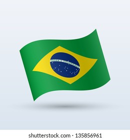 Brazil flag waving form on gray background. Vector illustration.