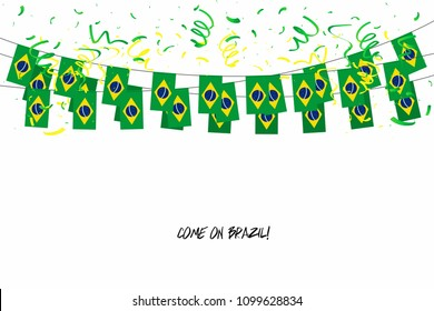 Brazil flags garland with confetti on white background, Hang bunting for Brazil celebration template banner. vector