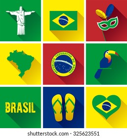 Brazil Flat Icon Set. Vector graphic flat icon images representing the symbols and landmarks of Brazil.