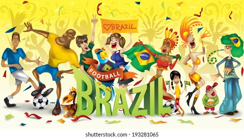 Brazil football, soccer, abstract characters, carnival (vector Art)