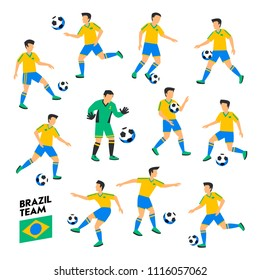 Brazil football team. Brazil soccer players. Full Football team, 11 players. Soccer players on different positions playing football. Colorful flat style illustration. Football cup. Vector illustration