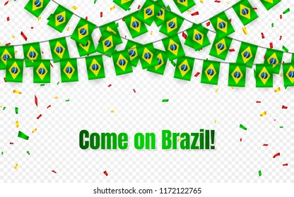 Brazil garland flag with confetti on transparent background, Hang bunting for celebration template banner, Vector illustration.